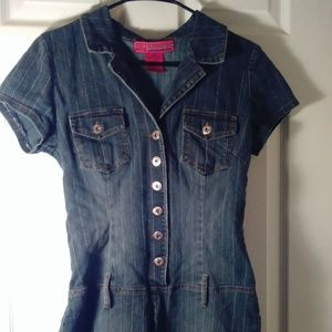Hot Kiss Brand Button Jean Romper M